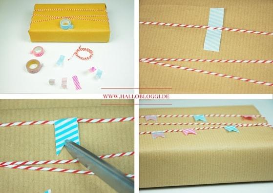 Bastelt Euch Euer eigenes Geschenkpapier. Mit einer Girlande aus Waschi Tape. www.hallobloggi.de