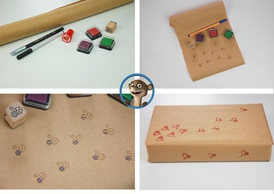 Bastelt Euch Euer eigenes Geschenkpapier mit Stempel. www.hallobloggi.de