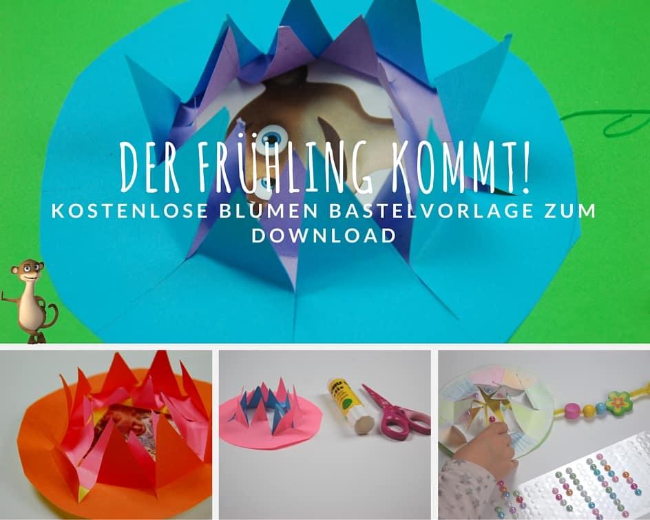Die Bastelvorlage zum free download Blumen kreativ sein. www.hallobloggi.de