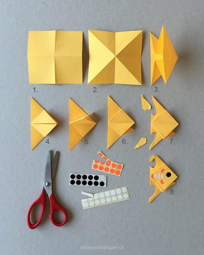DIY Aquarium mit Kindern basteln. Mehr auf www.hallobloggi.de Hier die Anleitung zum Origami Fisch