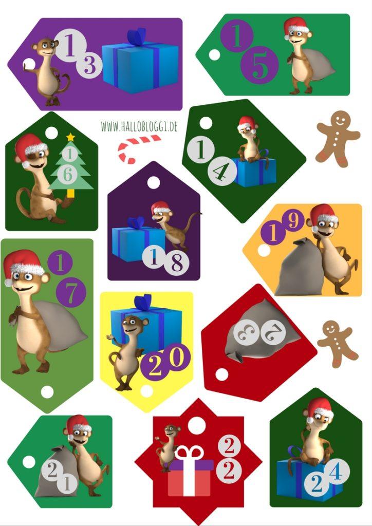 Schilder zum ausdrucken für den Adventskalender von Hallo Bloggi