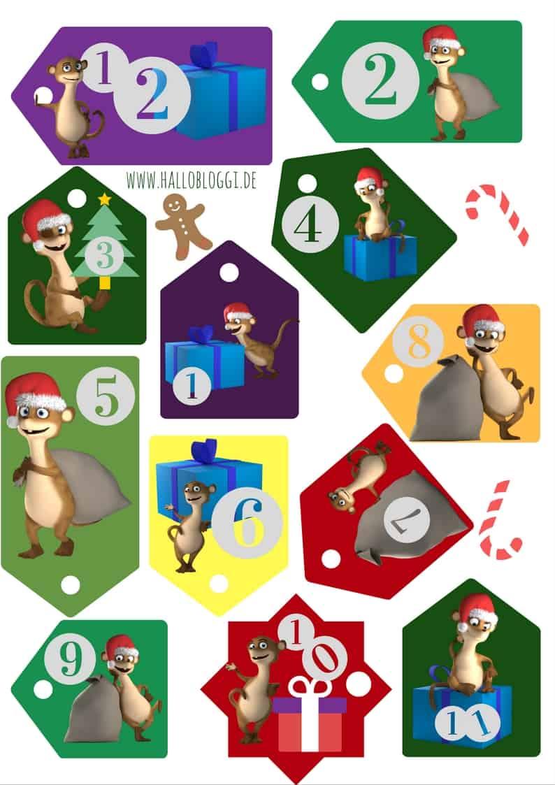 Hallo Bloggi Adventskalender Zahlen zum Ausdrucken