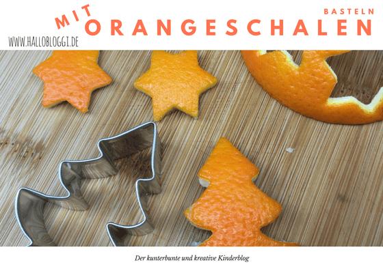 Mit Kindern basteln Orangenschalen ausstechen und trocknen lassen