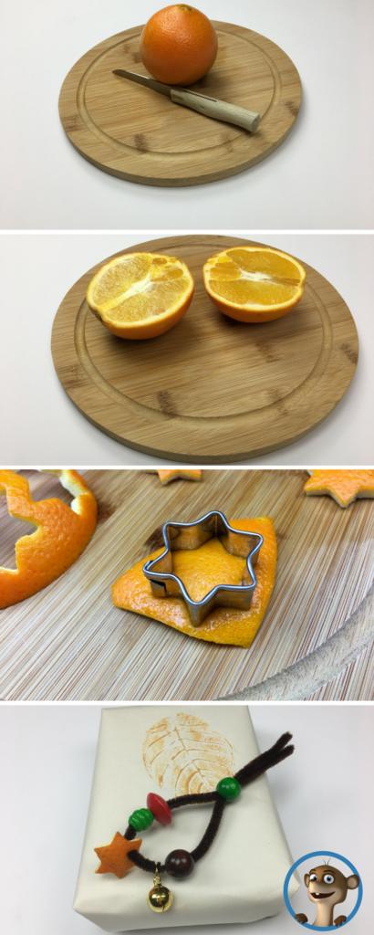 Orangen mit Keksausstechformen basteln