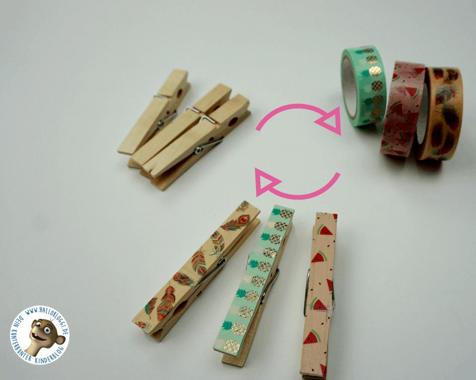 Wäscheklammern aus Holz mit Washi Tape verschönern