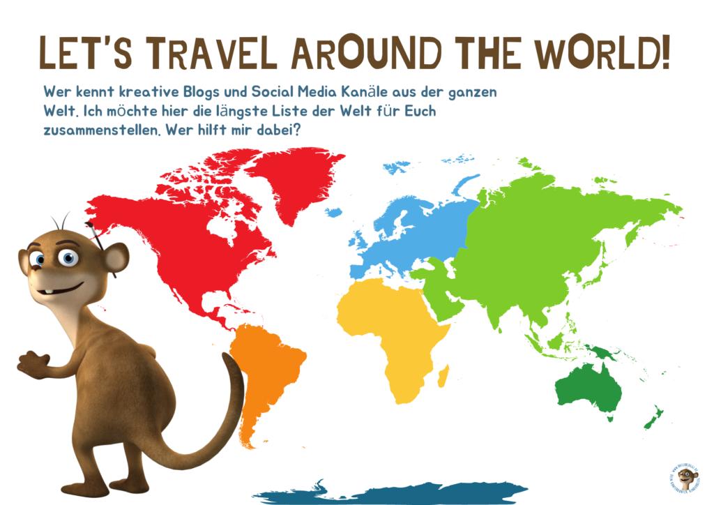 Weltkarte mit Bloggi